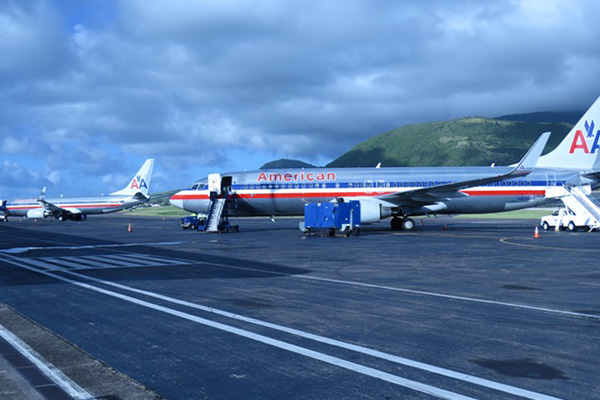 Aviation history in St. Kitts with two American Airlines flights overnighting and departing the Robert L. Bradshaw International Airport