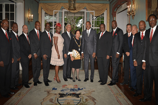 PM Douglas and delegation witness swearing-in of new Antigua-Barbuda Cabinet