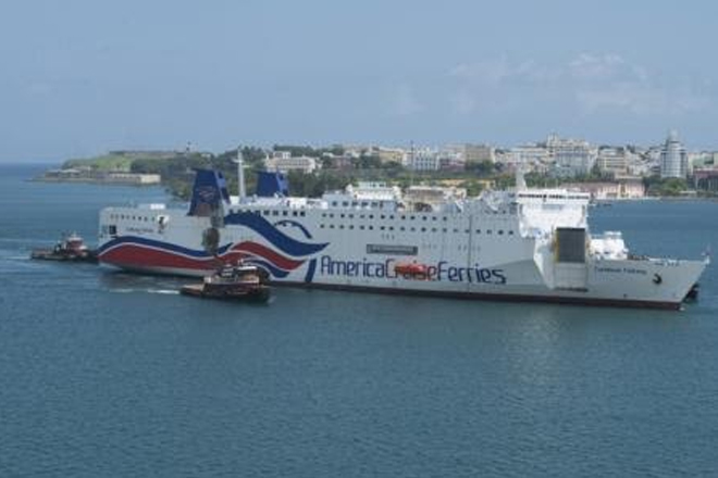 Disabled passenger ferry vessel towed to San Juan Harbor in Puerto Rico
