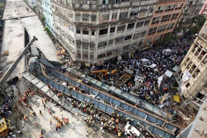 India Kolkata flyover collapse: At least 20 dead