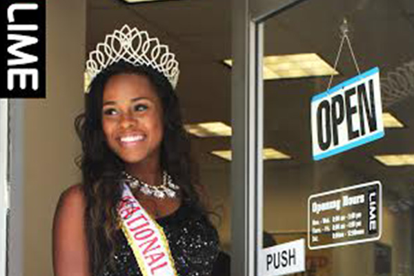 Miss. St. Kitts, Kaeve Armstrong visits LIME Flagship Store