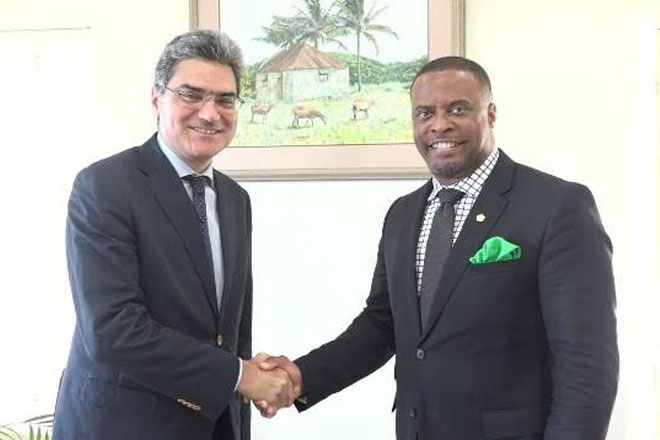 Italy's special envoy to the Caribbean meets with SKN Foreign Affairs Minister Brantley
