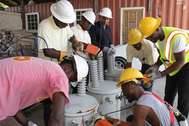 Nevis linesmen embrace training from The Barbados Light & Power Company Limited Technical Trainer