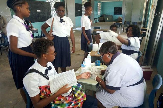 Diabetes screening at Charles E Mills Secondary
