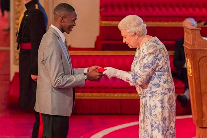Trevis Belle awarded Queen's Young Leader by Queen Elizabeth II