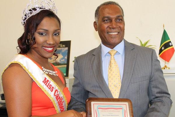 Reigning Caribbean Culture Queen shows appreciation to Nevis Premier