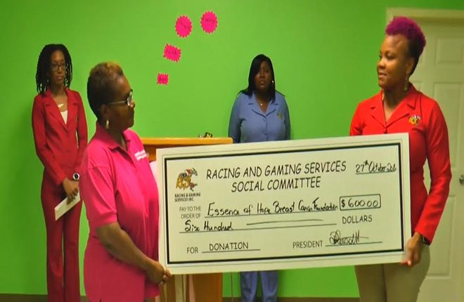 Racing and Gaming Services Social Committee donate to Essence of Hope