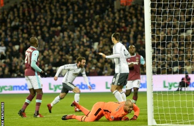Manchester United beat West Ham after controversial send-off