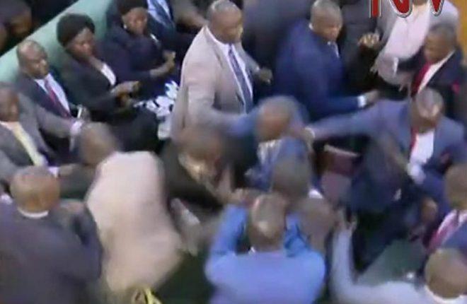 Uganda MPs brawl during presidential age-limit debate