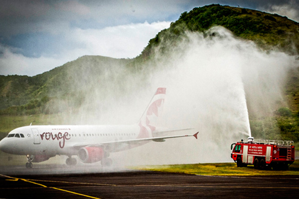 Water salute to officially inaugurate Seaborne Airline's daily service to St. Kitts
