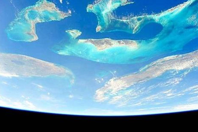 Bahamas stunning from all angles, including 220 miles above