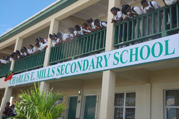 Police seized offensive weapons in Charles E. Mills Secondary School