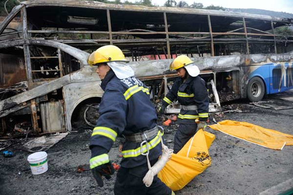 43 killed when van carrying flammable liquid hits bus in China