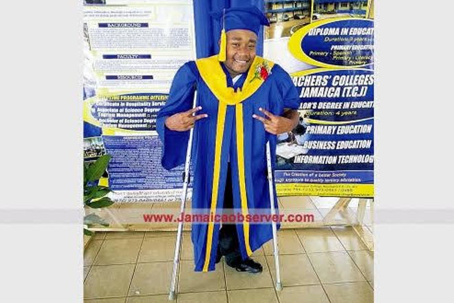 Physically challenged man making big strides
