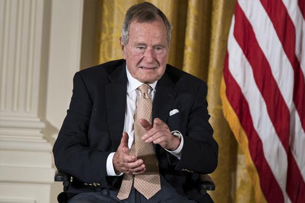 Former US President George HW Bush in hospital