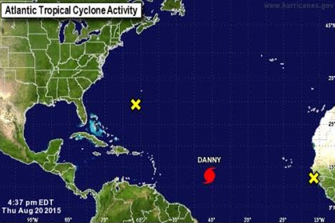Danny strengthens into first hurricane of 2015 season