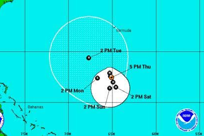 Nicole now a hurricane; forecast to meander south of Bermuda
