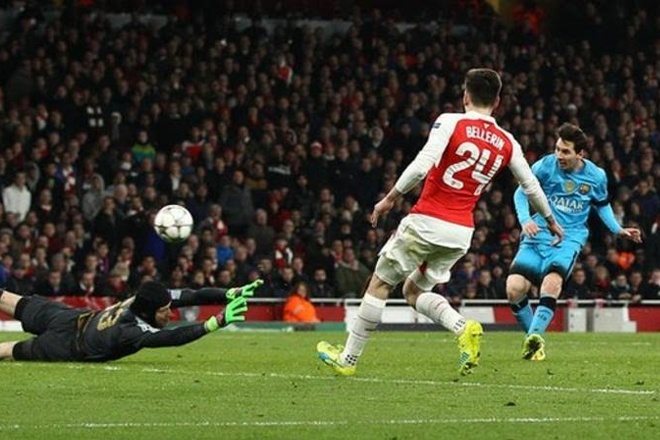Messi puts Barca in control over Arsenal