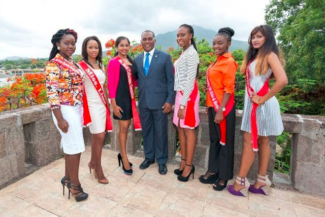Senior Culturama Pageant Contestants pay courtesy call on Nevis Premier