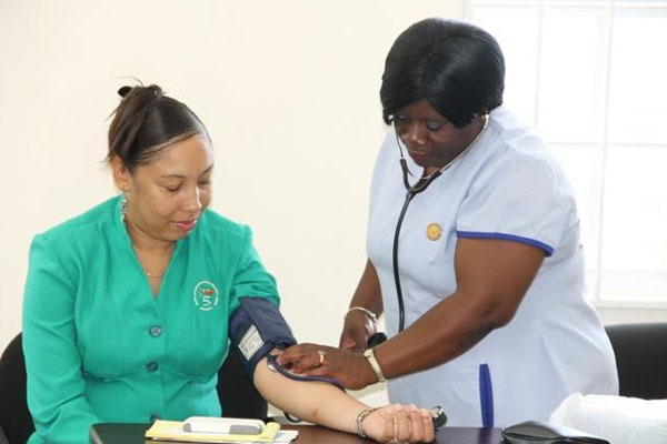 Nevis' Health Promotion Unit performs health screenings at local businesses