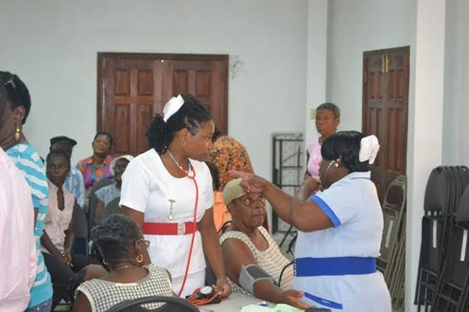 Nevis Seniors get blood and pressure tests