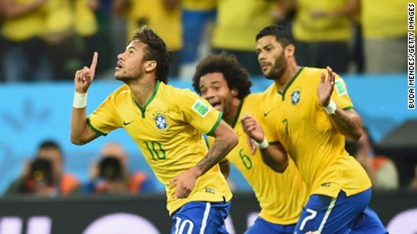 World Cup: Neymar double gives Brazil a nervy opening win over Croatia