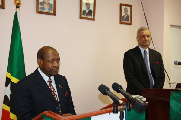 Prime Minister Douglas and Commonwealth Secretary General talk in London