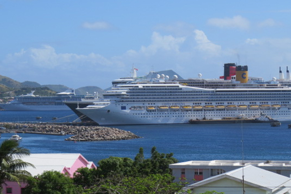 Over 7,000 passengers on four cruise ships visited Tuesday