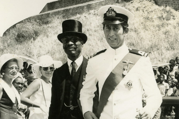 Prince Charles reminisces with PM Douglas on Royal Visit to St. Kitts in 1973