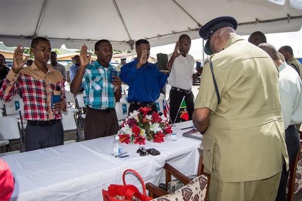 Four young men Sworn in as Police Constables
