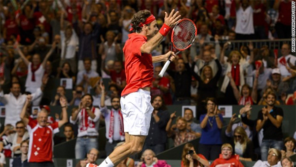 Roger Federer takes Switzerland into the Davis Cup final