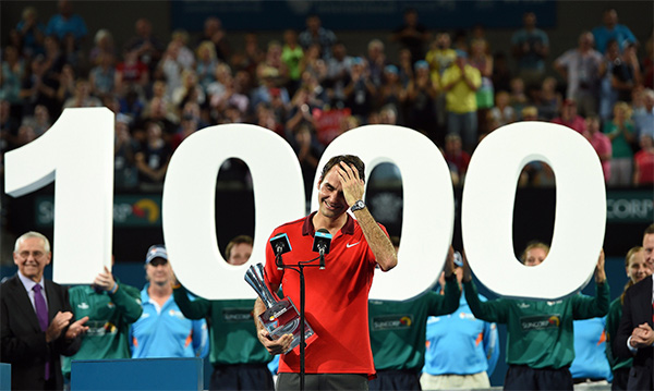 1,000th win for Roger Federer as he takes Brisbane title