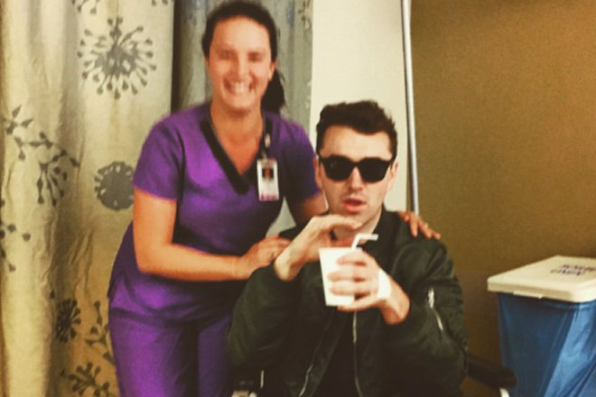 Sam Smith in good spirits after surgery