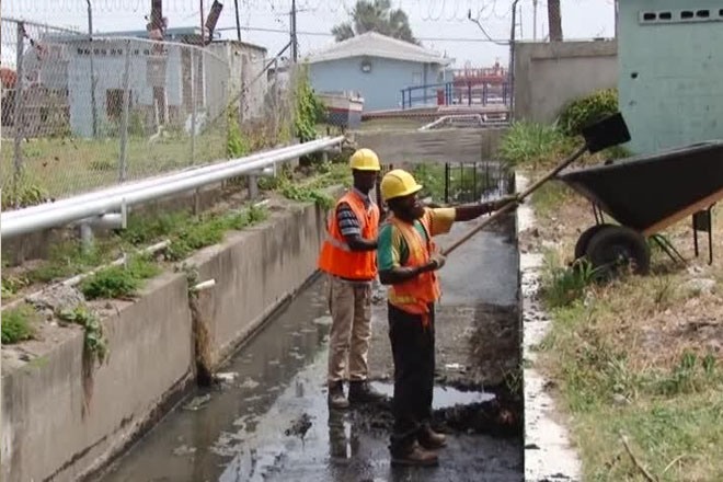 Clearing Storm Drains in East Basseterre