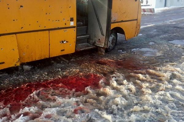 Eleven Ukraine civilians killed when rocket hits bus