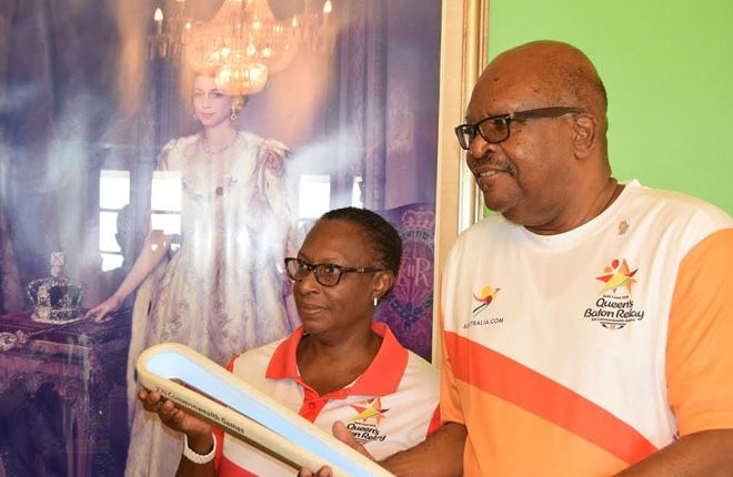 Governor- General first receives Queen's Baton as it arrives in St. Kitts and Nevis