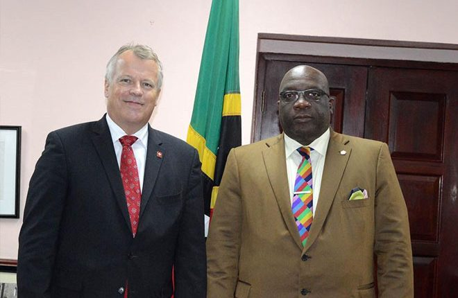 PM Harris and Switzerland's ambassador to St. Kitts and Nevis hold bilateral discussions