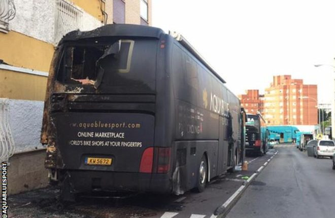 Vuelta a Espana: Aqua Blue Sport team bus destroyed in apparent arson attack