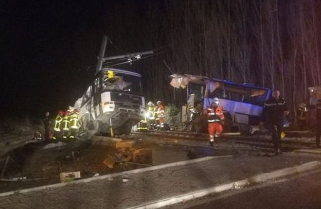 France Millas train crash: Children killed as bus cut in two