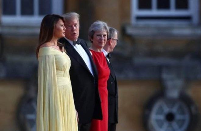Donald Trump: US president meets Theresa May at Blenheim Palace