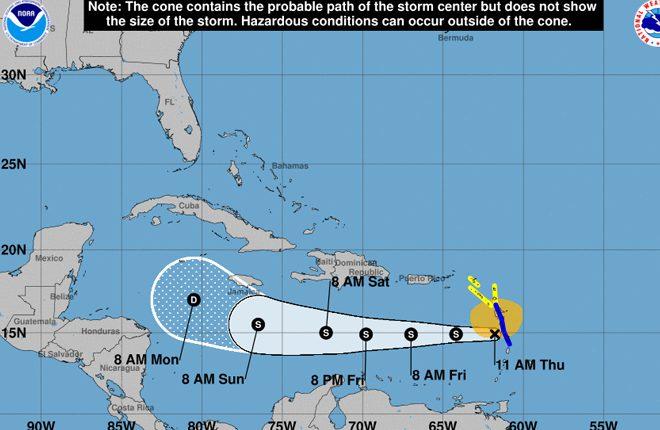 Tropical Storm Force Winds Nearing the Leeward Islands