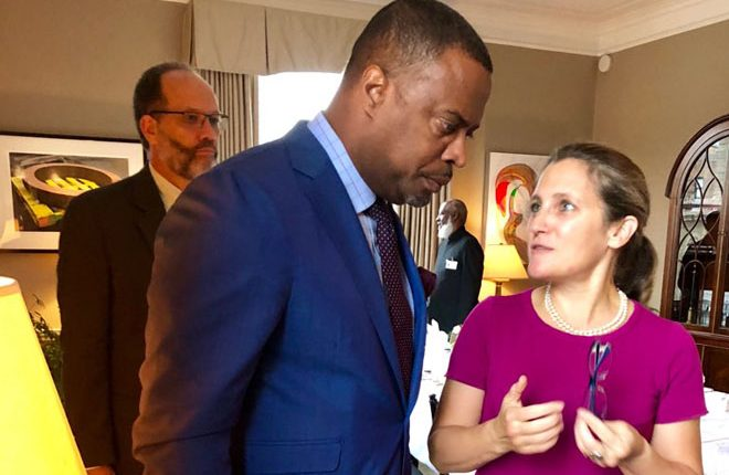 St Kitts Nevis Foreign Minister Brantley engages Foreign Minister of Canada after Caribbean-Canada Meeting
