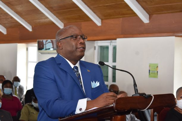 Prime Minister Dr. the Hon. Timothy Harris delivering remarks at the commemorative sitting of the Nevis Island Assembly
