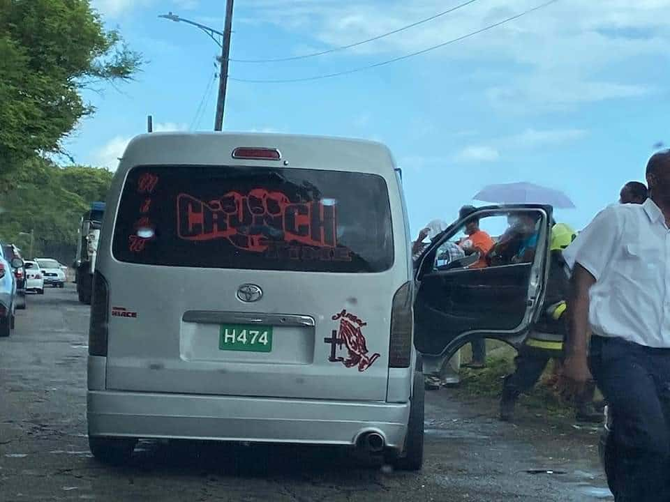 Stone Falls Into Passenger Bus Across Old Road Bay