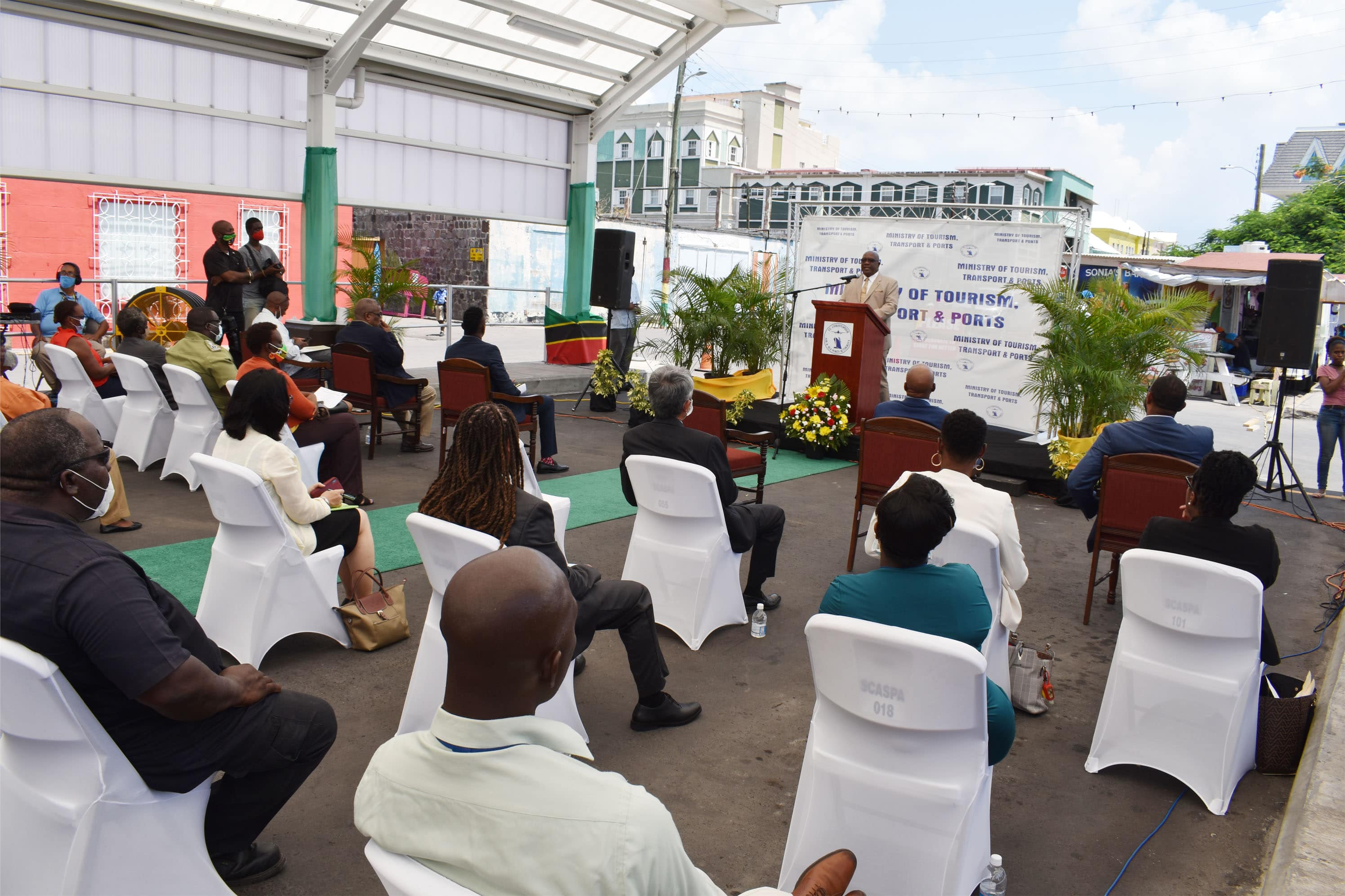 Prime Minister Dr the Hon Timothy Harris addressing attendees at the ceremony to officially open the West Line Bus Terminus in downtown Basseterre.